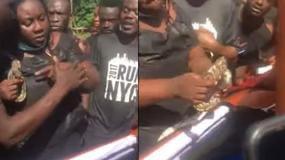 VIDEO:Ghanaian woman puts python in dead husband's coffin to bid him farewell.